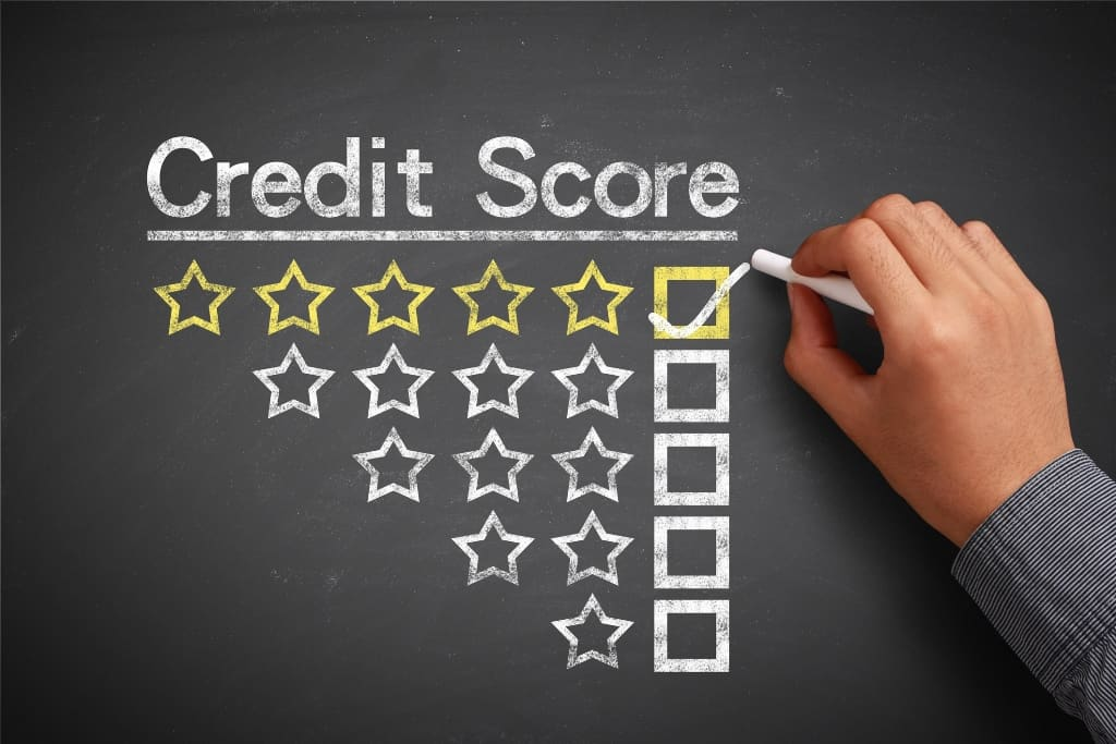 "A man ticks a box next to five starts under the title ""credit score"""